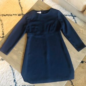 Talbots Petite Navy Long Sleeve Lined Dress
